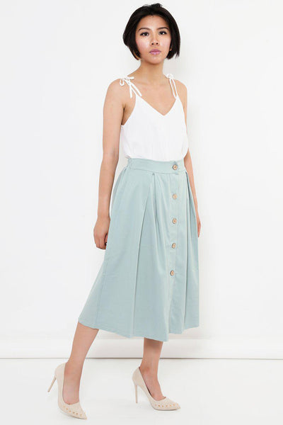 Pleated A-Line Teal Midi Skirt-SinglePrice