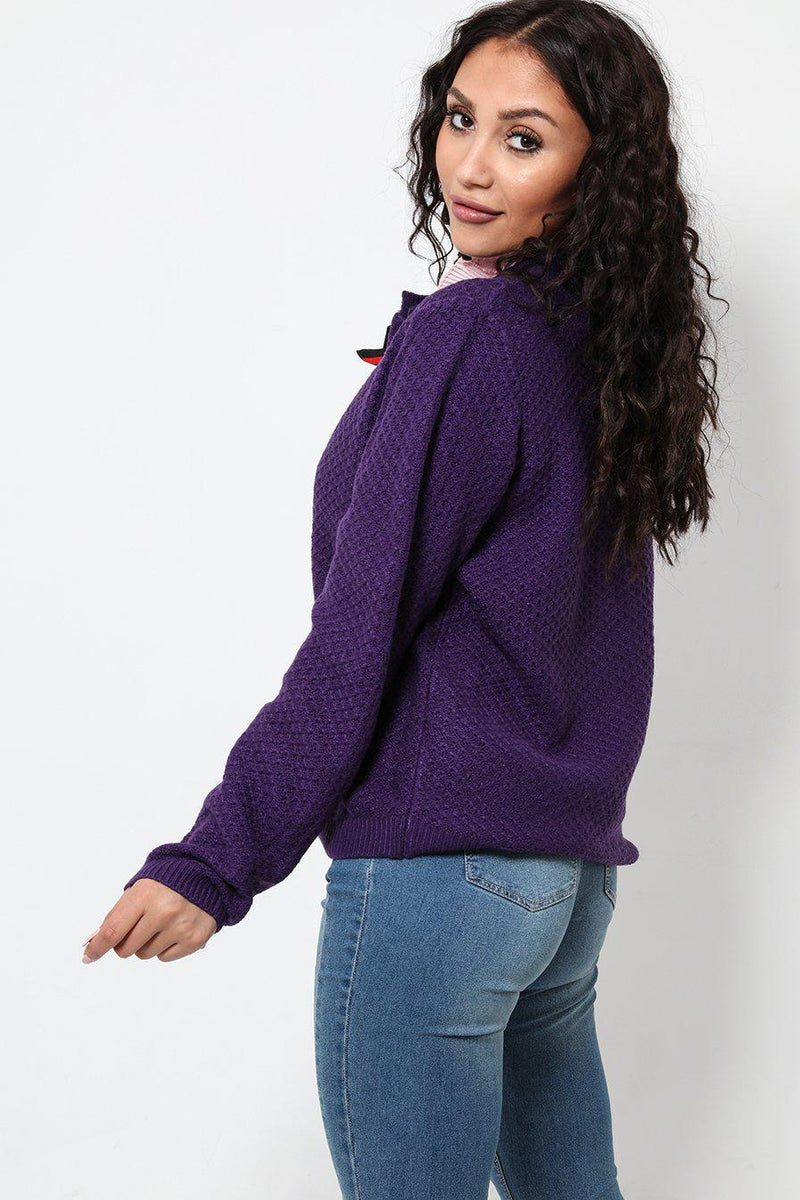 Large Buttons Purple Cardie - SinglePrice
