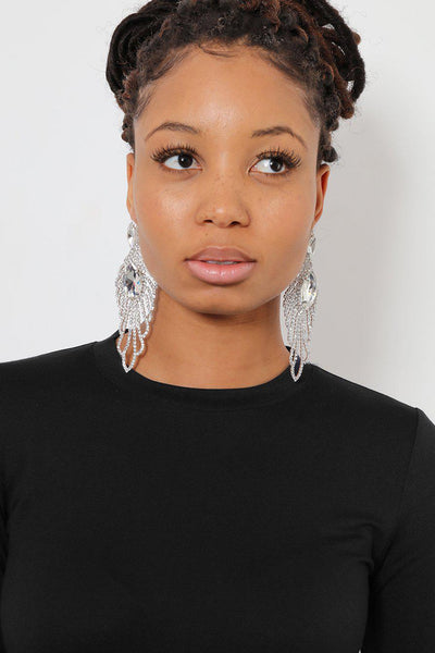 Clear Marquis Feather Drop Earrings