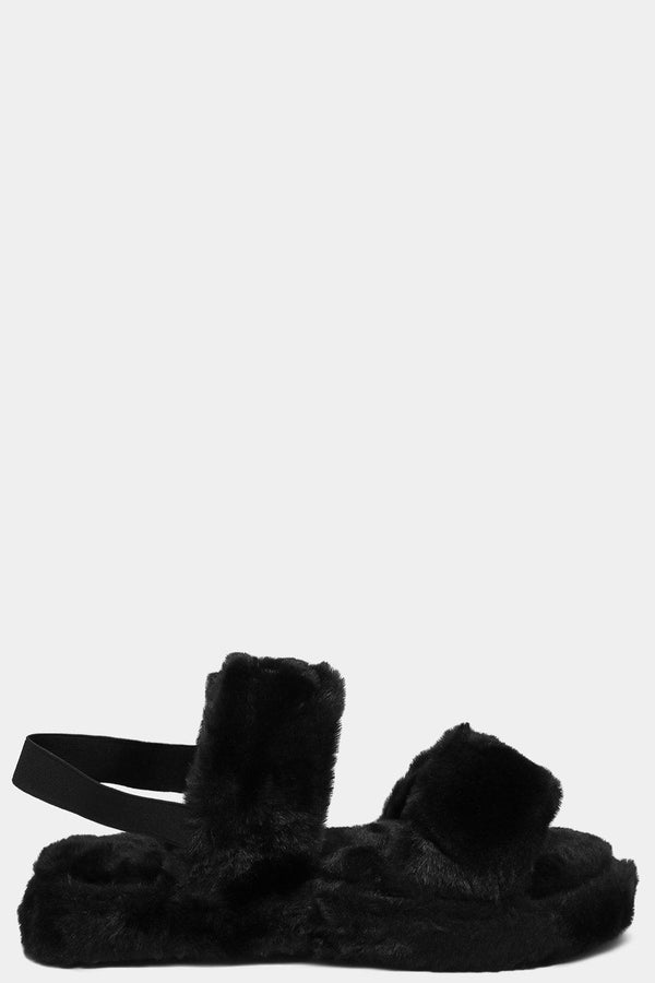 Black Fluffy Twin Strap Singback Slippers - SinglePrice