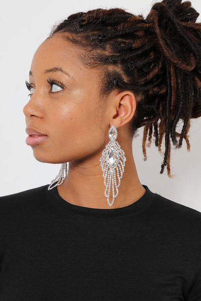 Clear Marquis Feather Drop Earrings-SinglePrice