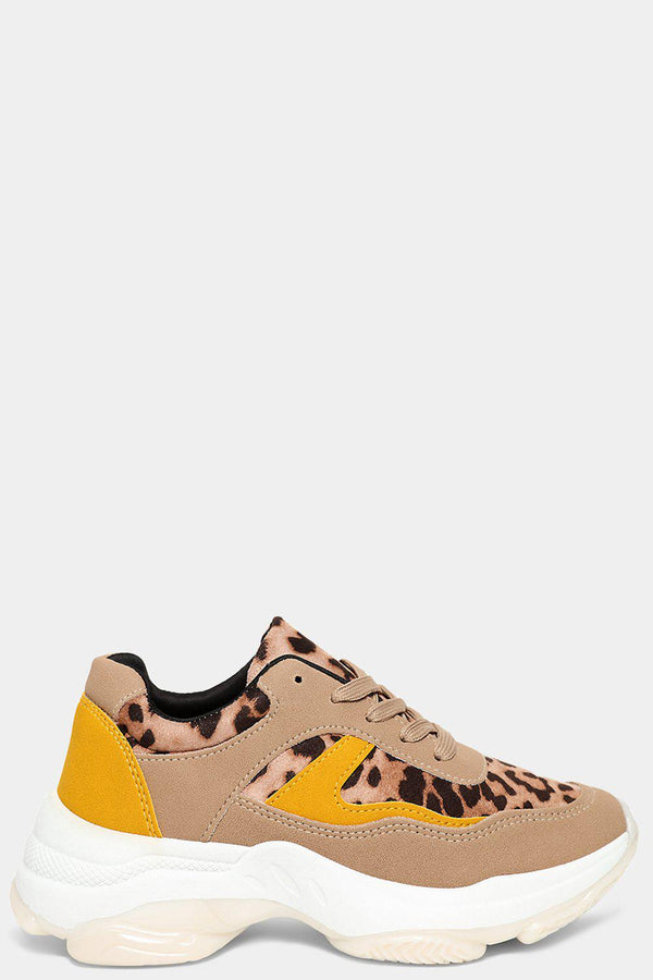 Leopard Print Panels Colourblock Chunky Trainers-SinglePrice