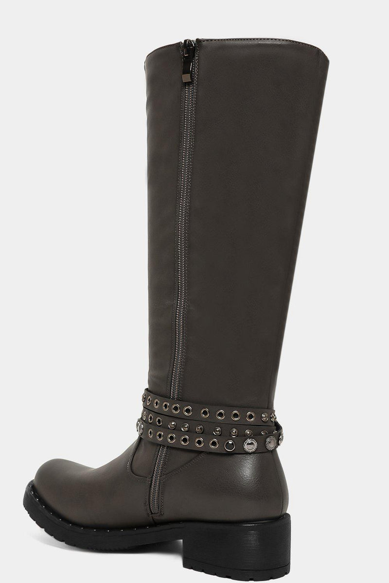 Grey Vegan Leather Eyelets Strap Knee High Boots - SinglePrice