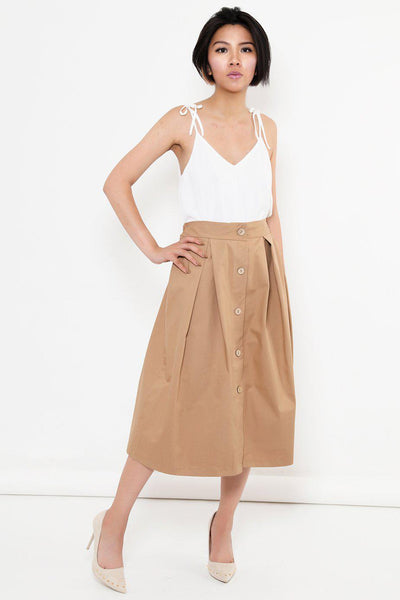 Pleated A-Line Beige Midi Skirt-SinglePrice
