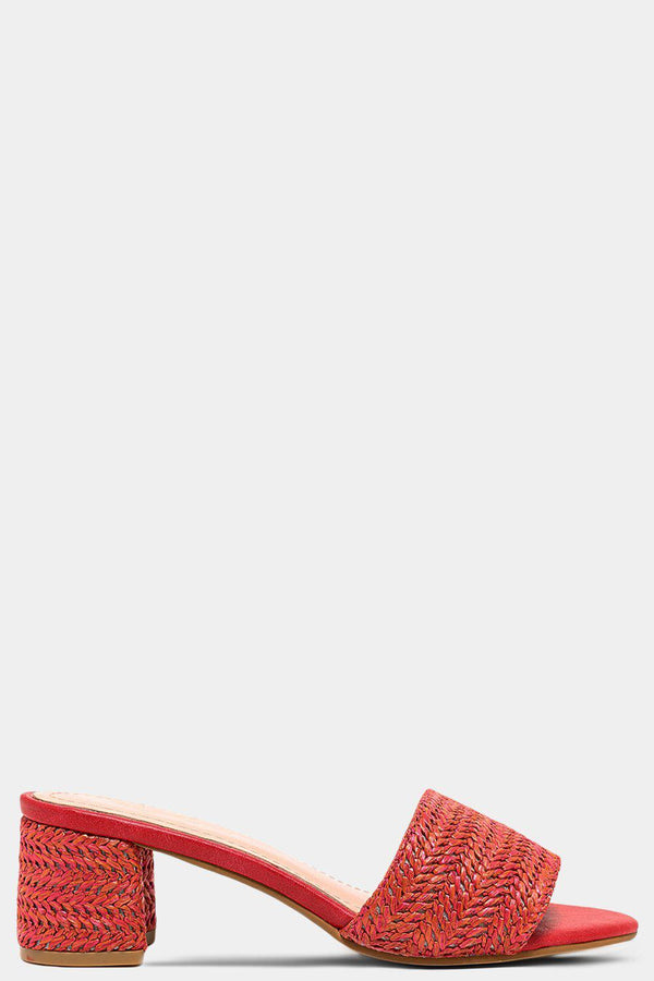 Red Vegan Straw Block Heel Mules - SinglePrice