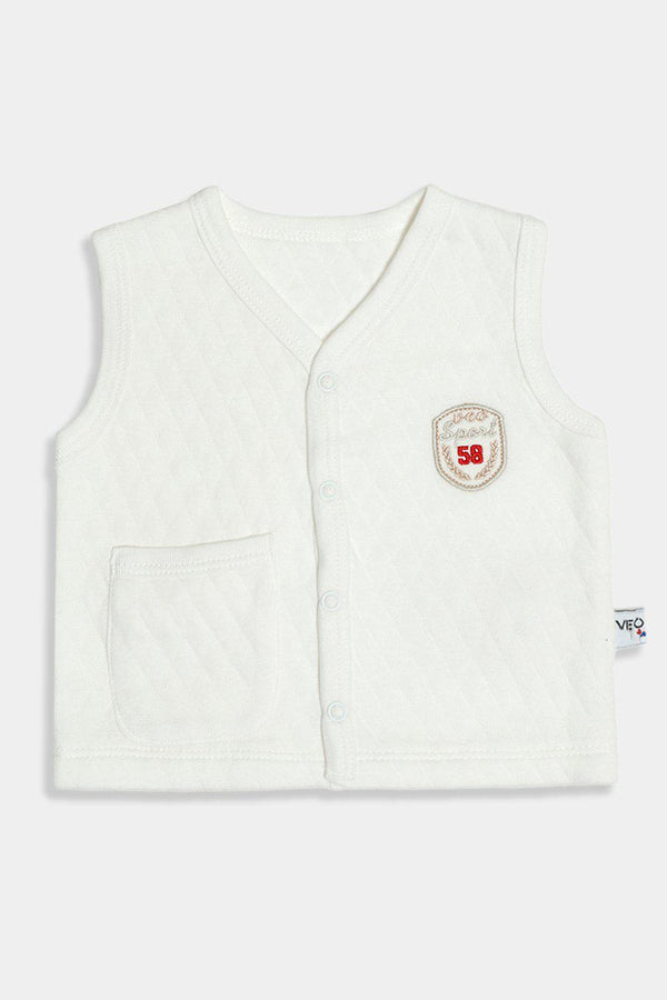 Cream Quilted Badge Detail Vest - SinglePrice
