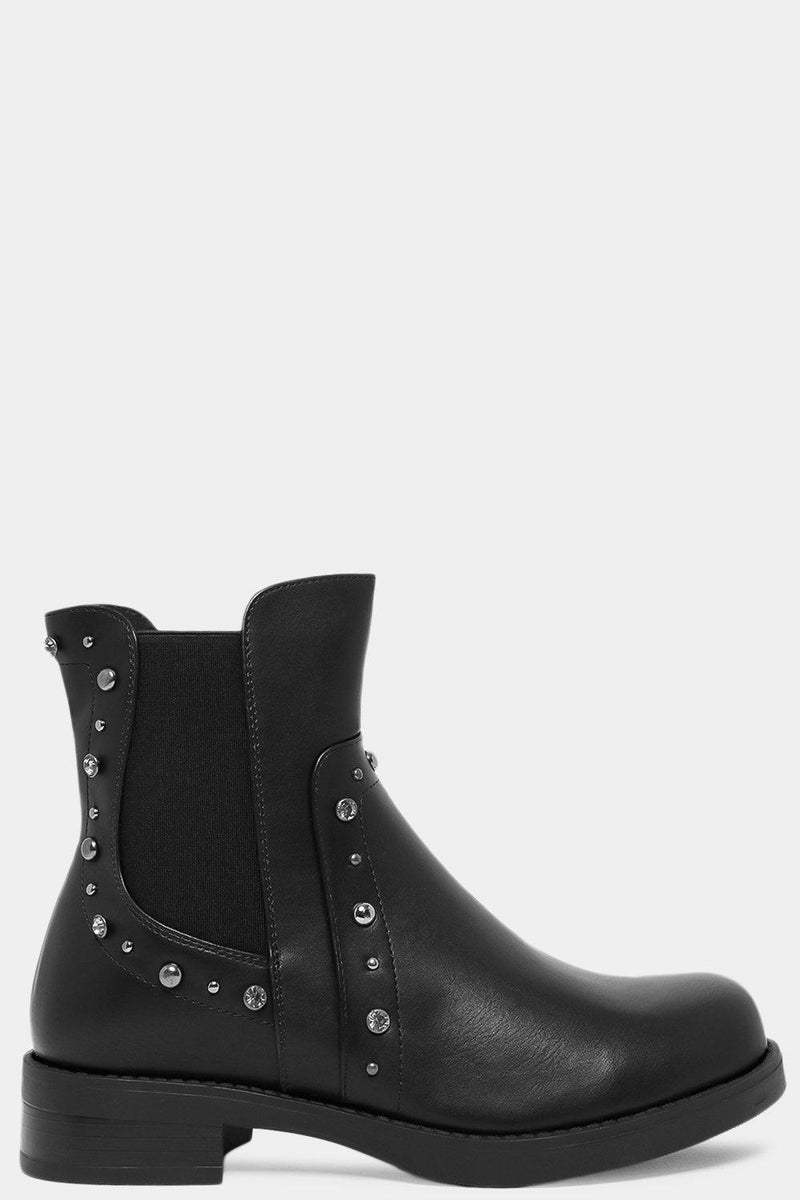 Black Mixed Beads Panels Vegan Suede Chelsea Boots - SinglePrice