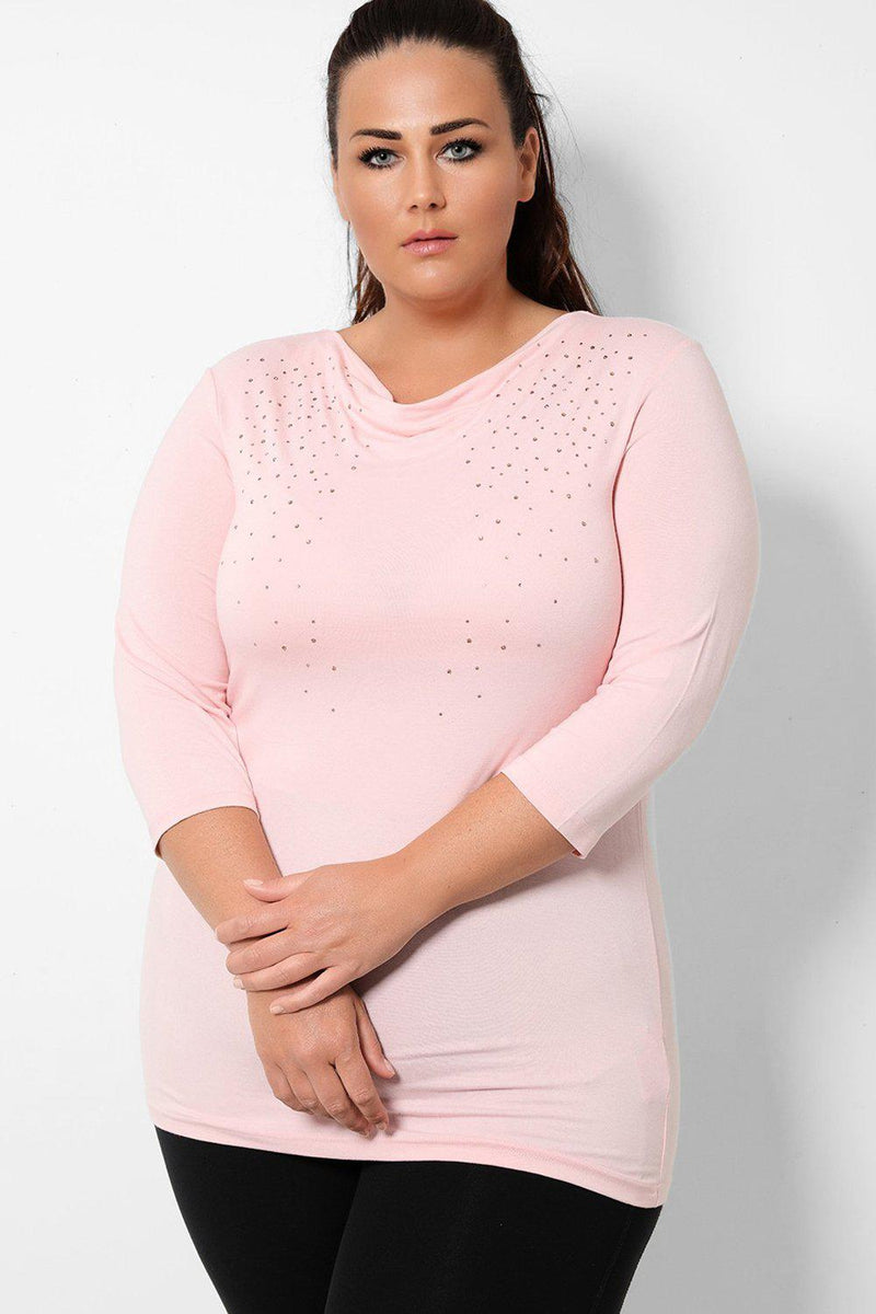 Light Pink Cowl Neck Crystals Embellished Top - SinglePrice