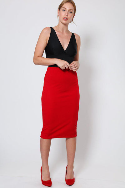 Red Textured Midi Skirt-SinglePrice