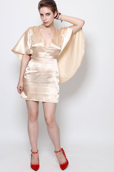 Nude Satin Cape Mini Dress-SinglePrice
