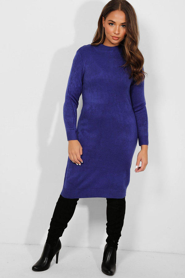 Royal Blue Mock High Neck Knitted Midi Dress - SinglePrice