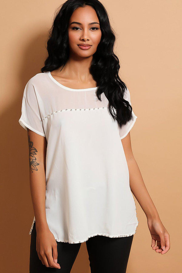 White Silver Beads Embellished Top - SinglePrice