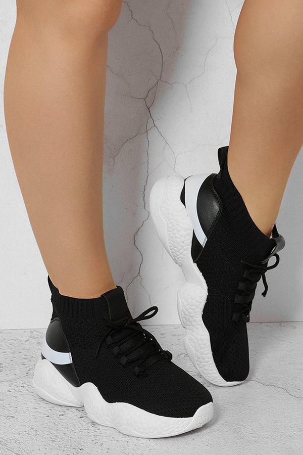 Black And White Lightweight Stretchy Sock Knitted Trainers-SinglePrice