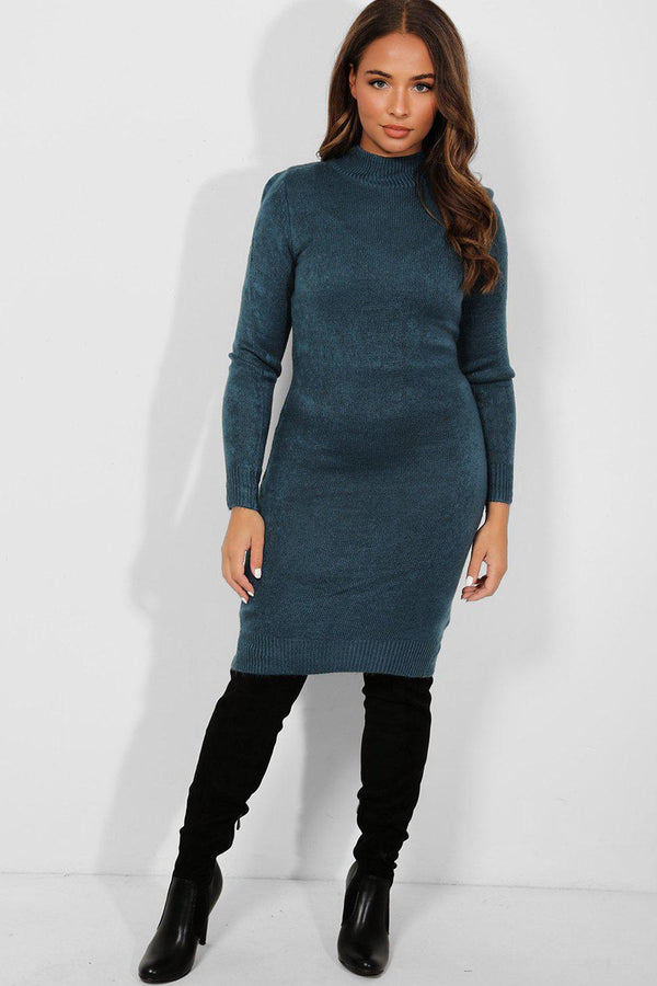 Teal Mock High Neck Knitted Midi Dress-SinglePrice