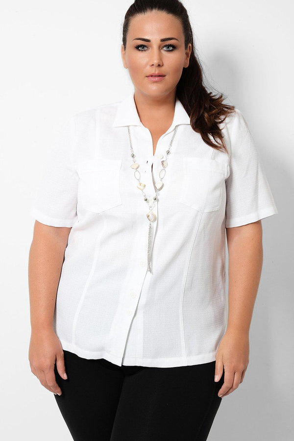 Textured White Short Sleeves Shirt With Necklace - SinglePrice