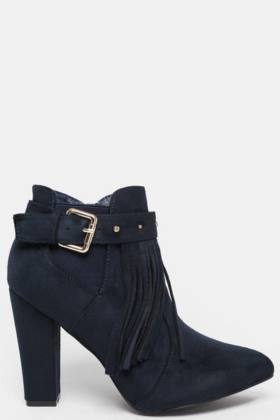 Block Heel Fringed Navy Ankle Boots-SinglePrice