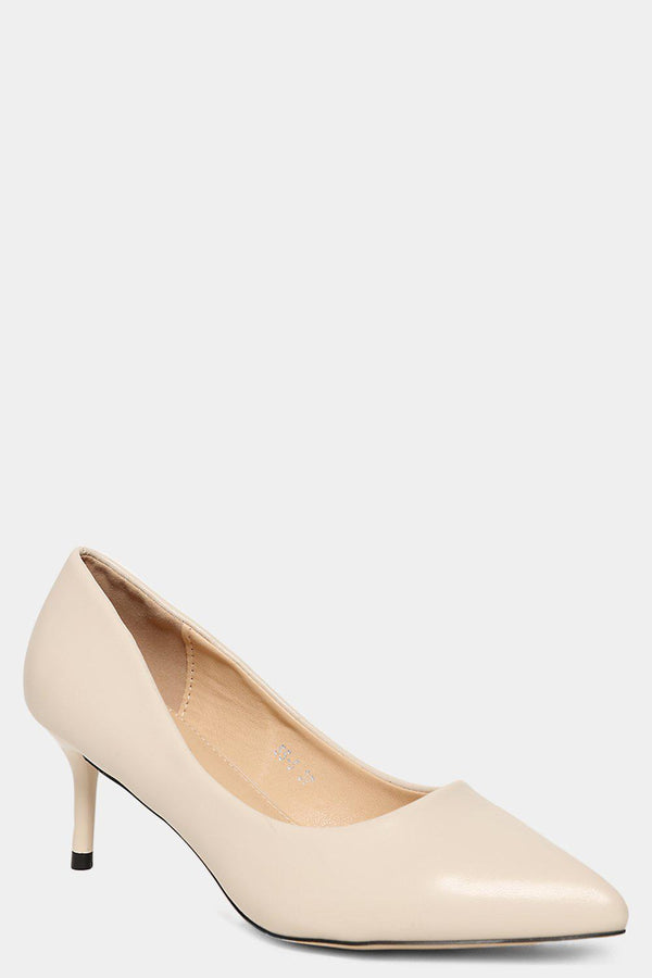 Beige Vegan Leather Classic Kitten Heels