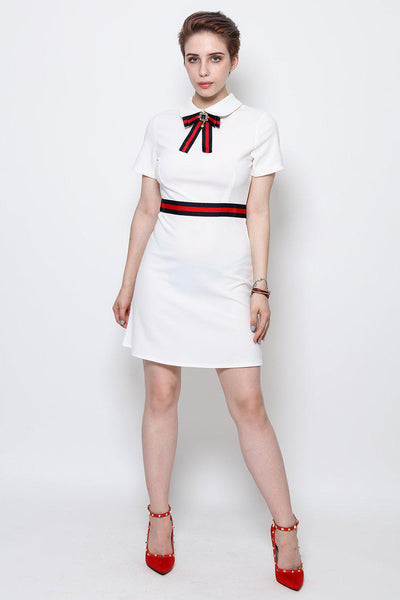 Ribbon And Brooch Details White Dress-SinglePrice