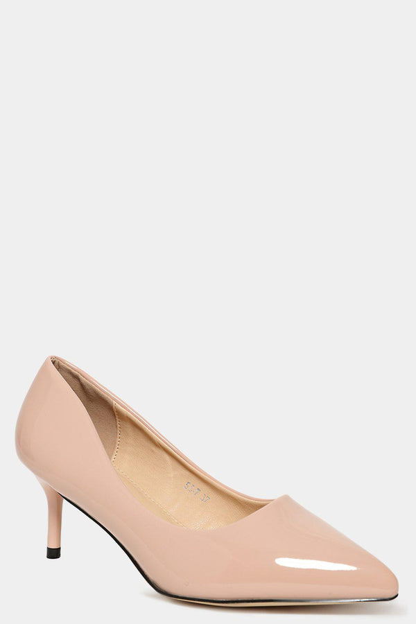 Beige Patent Vegan Leather Classic Kitten Heels