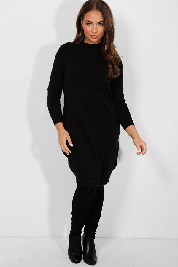 Black Mock High Neck Knitted Midi Dress - SinglePrice