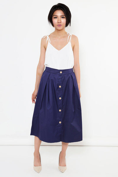 Pleated A-Line Navy Midi Skirt-SinglePrice