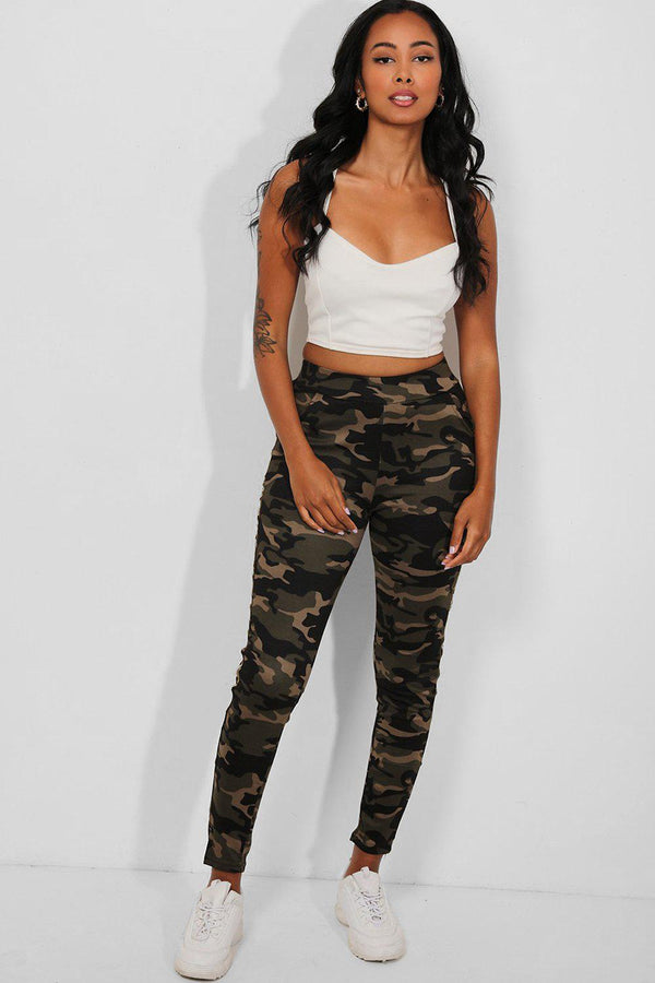 Gold Twin Stripes Camouflage Print Leggings - SinglePrice