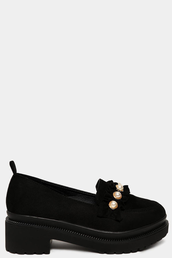 Black Vegan Suede Studded Chunky Tractor Loafers