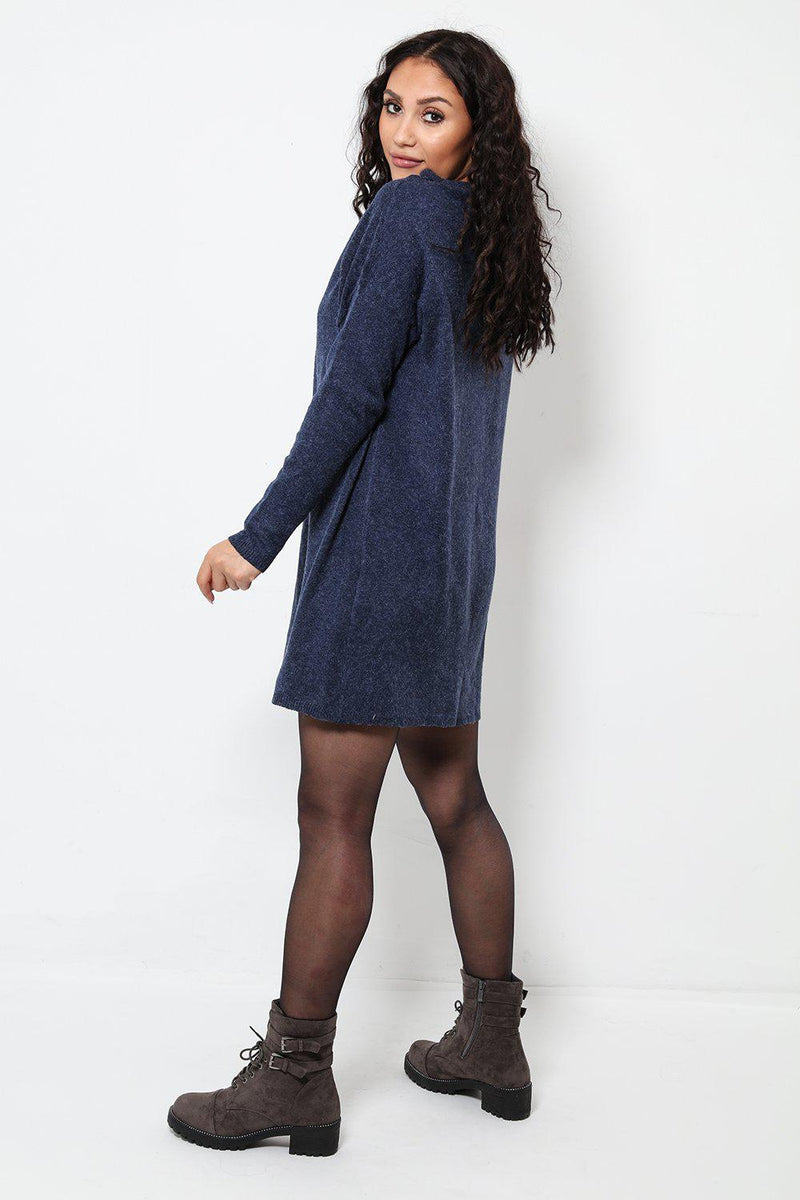 Oversized Navy Jumper Dress - SinglePrice
