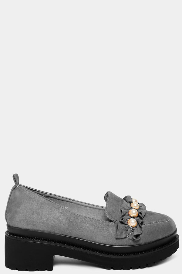 Grey Vegan Suede Studded Chunky Tractor Loafers