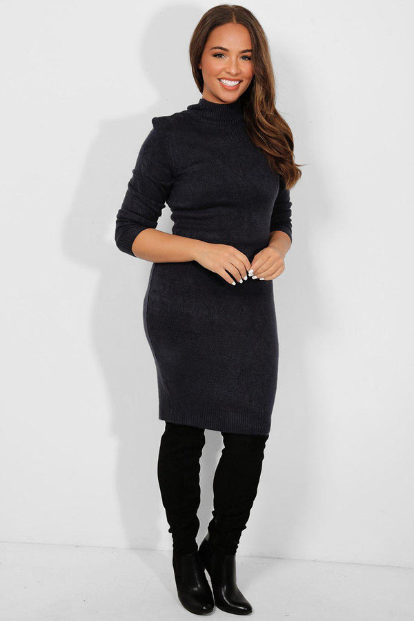 Navy Mock High Neck Knitted Midi Dress - SinglePrice