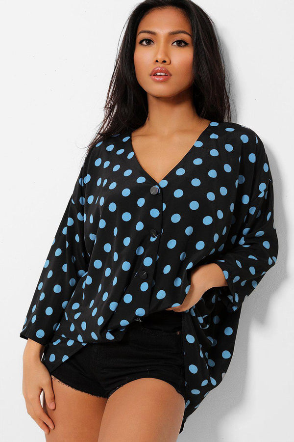 Blue Polka Dot Black Faux Buttons Twist Front Shirt - SinglePrice