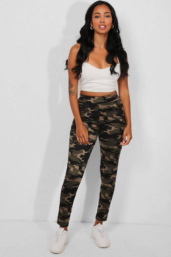 White Twin Stripes Camouflage Print Leggings - SinglePrice