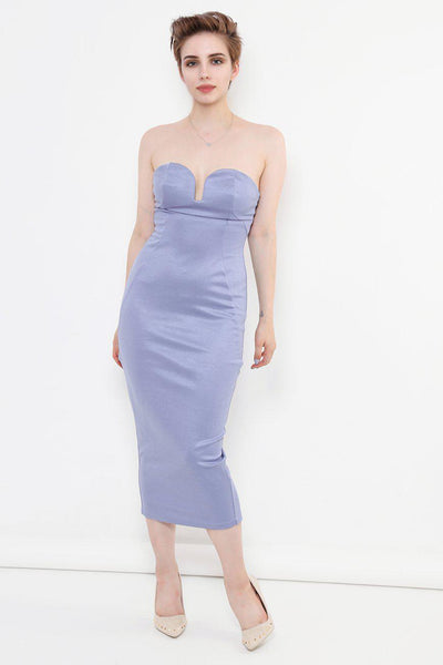 Light Blue Long Midi Bandeau Dress-SinglePrice