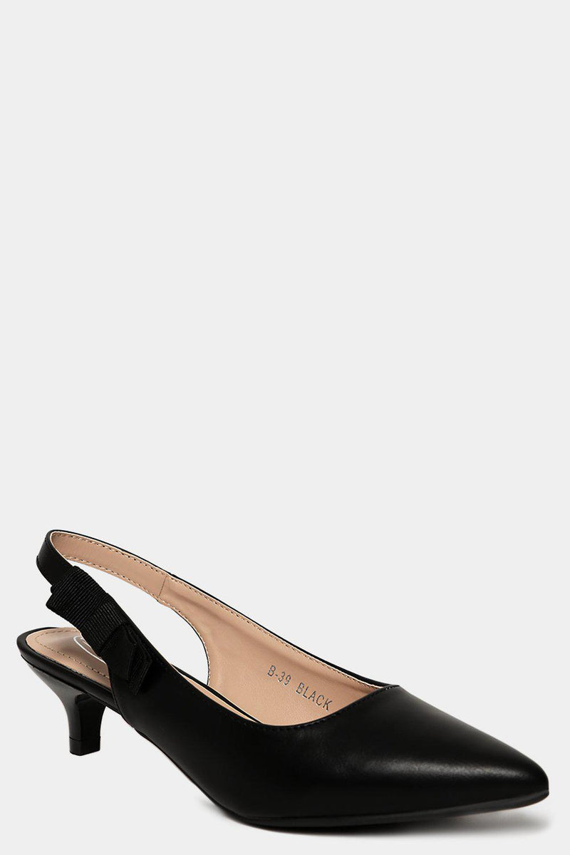 Black Vegan Leather Sling Back Classic Kitten Heels - SinglePrice