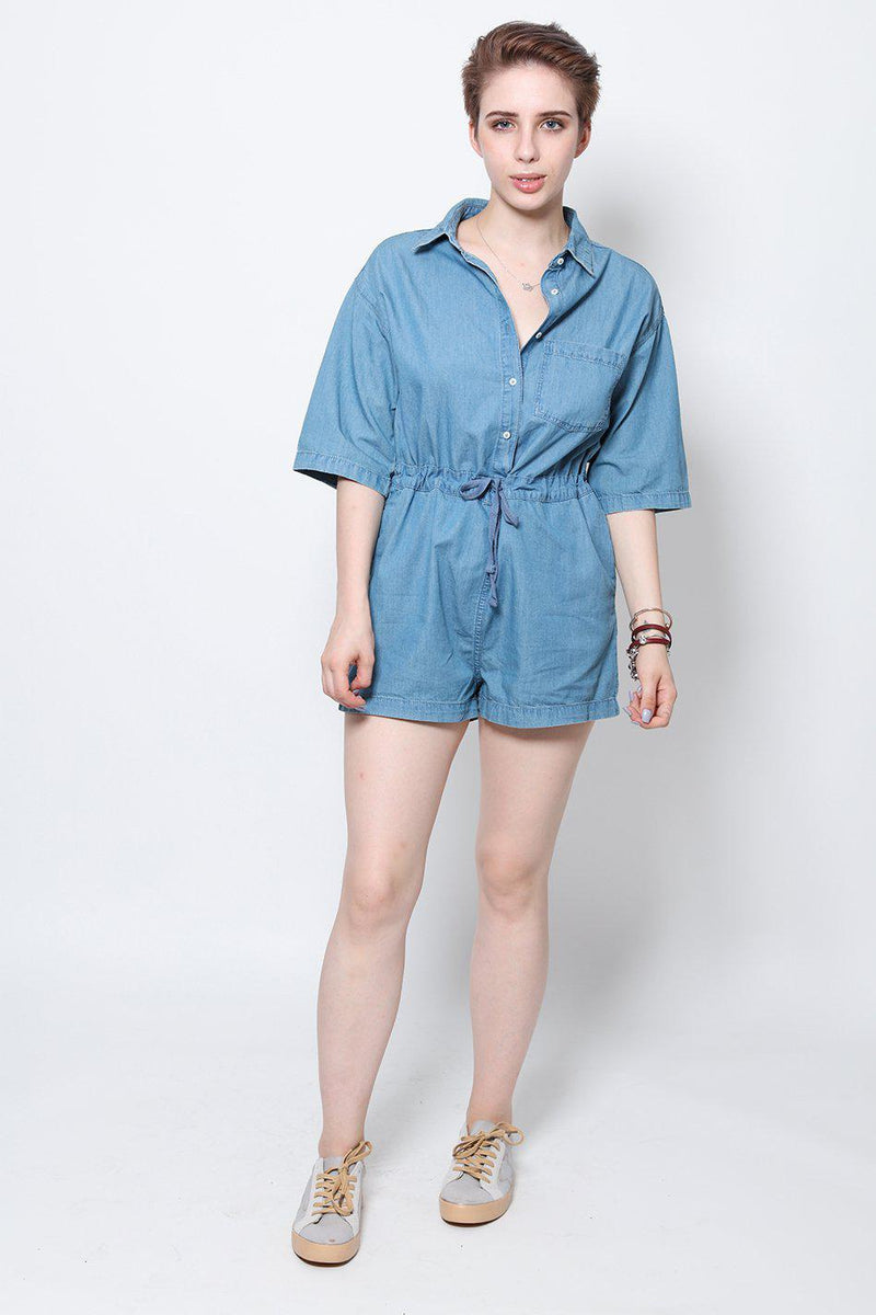 Denim Drawstring Playsuit-SinglePrice