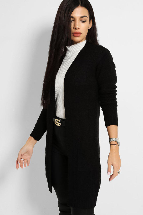 Black Slip Pockets Open Front  Rib Stitch Knit Cardigan - SinglePrice