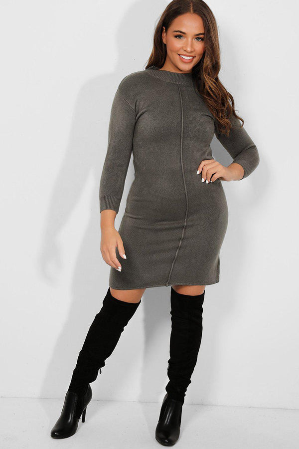 Khaki Seam Front High Neck Knitted Dress-SinglePrice