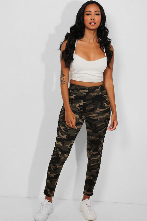 Black Twin Stripes Camouflage Print Leggings - SinglePrice