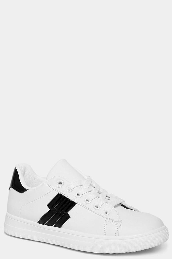 Black Patent Detail White Classic Trainers - SinglePrice
