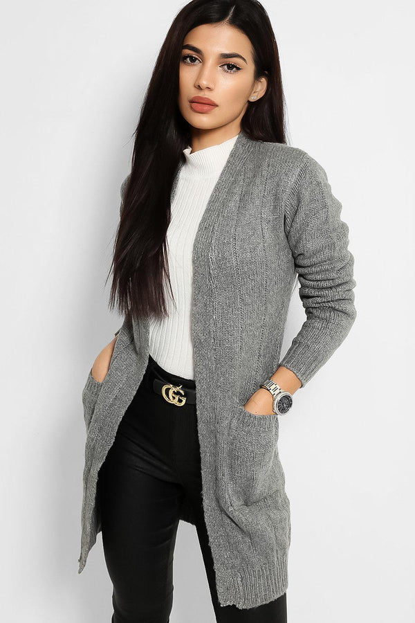 Grey Slip Pockets Open Front  Rib Stitch Knit Cardigan - SinglePrice
