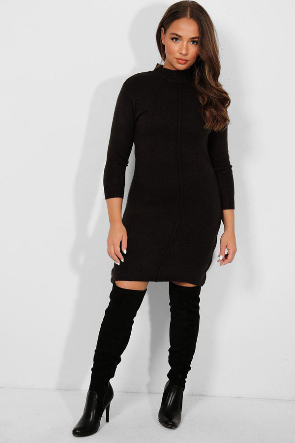Black Seam Front High Neck Knitted Dress-SinglePrice