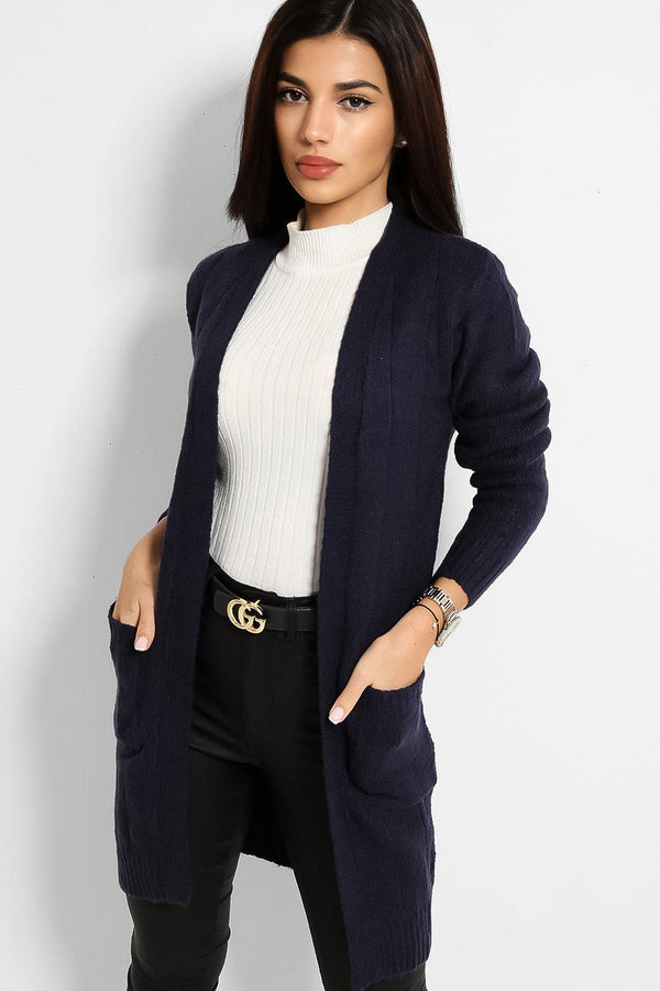 Navy Slip Pockets Open Front  Rib Stitch Knit Cardigan - SinglePrice