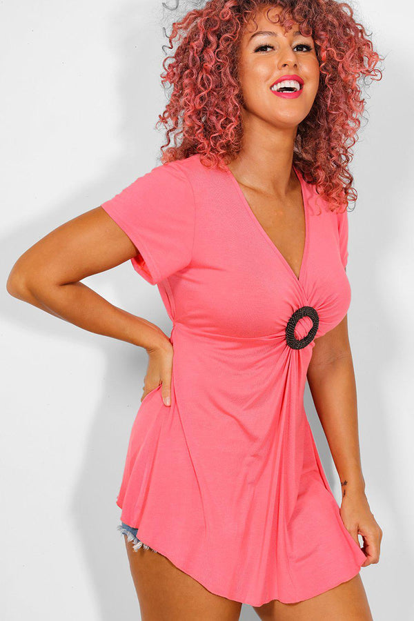 Coral Beaded Ring Detail V-Neck Tunic Top - SinglePrice