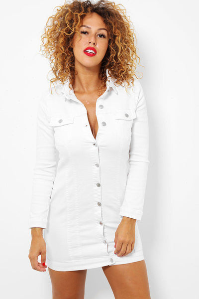 White Button Front Long Sleeve Stretch Denim Dress