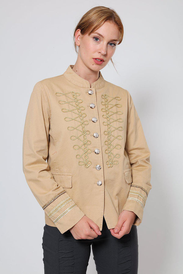 Gold Details Cream Military Jacket-SinglePrice