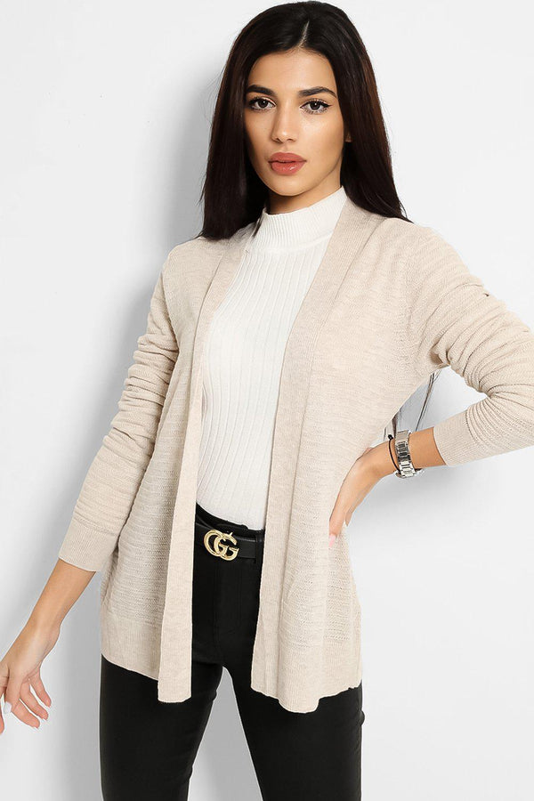 Beige Lightweight Knit Open Front Classic Cardigan - SinglePrice