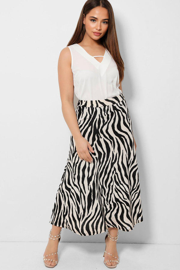 Beige Black Pleated Zebra Print Midaxi Skirt - SinglePrice