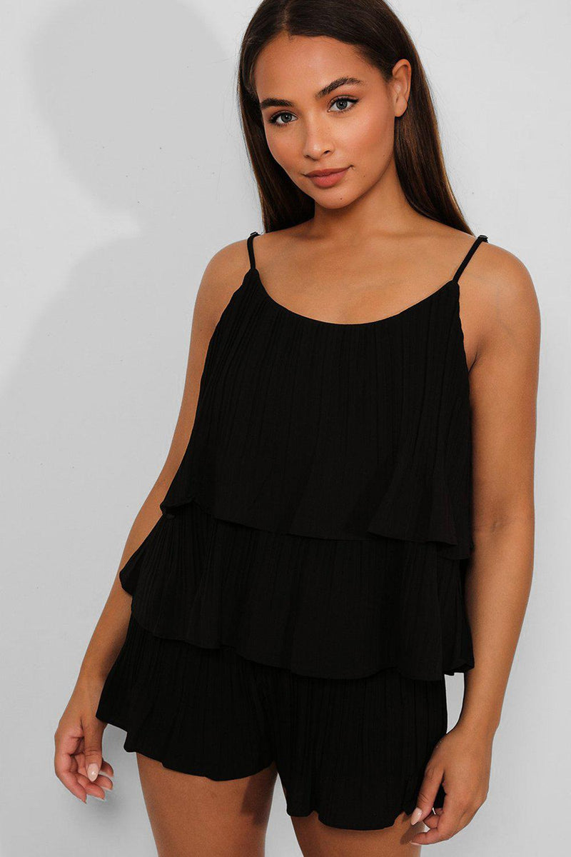 Black Pleated Layered Top And Shorts Set - SinglePrice