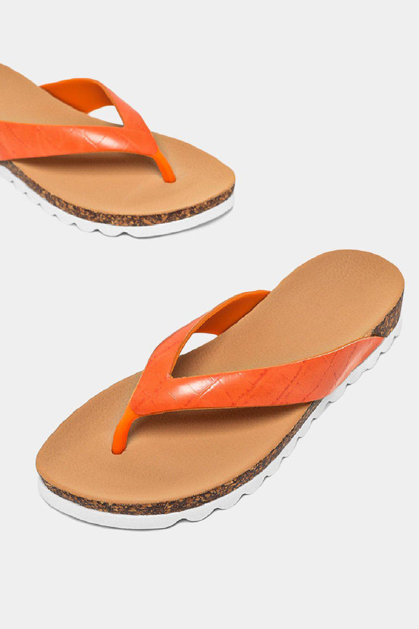 Orange Cleated Thong Sandals - SinglePrice