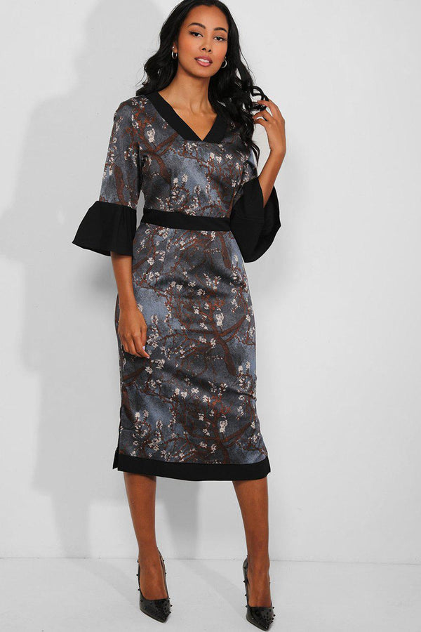 Blue Oriental Print Contrast Trims Midi Dress - SinglePrice